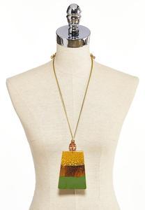 Oversized Wood Pendant Necklace