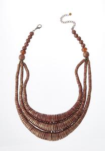 Wood Bead Bib Necklace