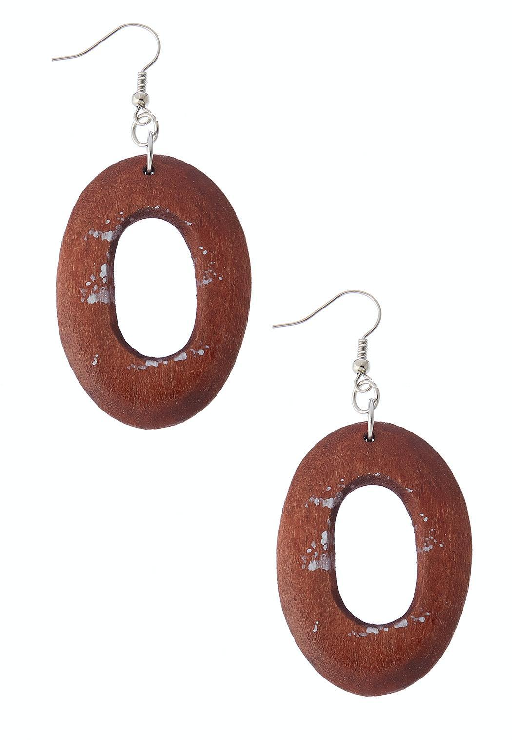 Wood Oval Ring Earrings