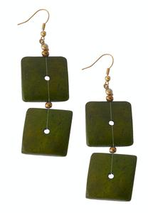 Square Disc Tiered Earrings