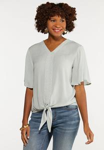 Plus Size Eyelet Trim Top