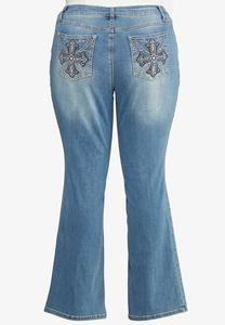 Plus Size Cross Pocket Jeans