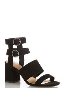 Wide Width Double Buckle Heeled Sandals