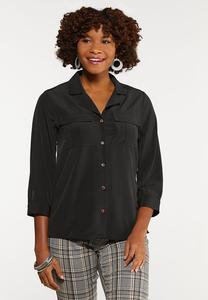 Plus Size Black Button Down Shirt