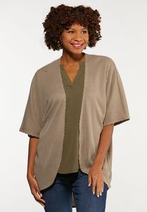 Plus Size Solid Ribbed Cardigan