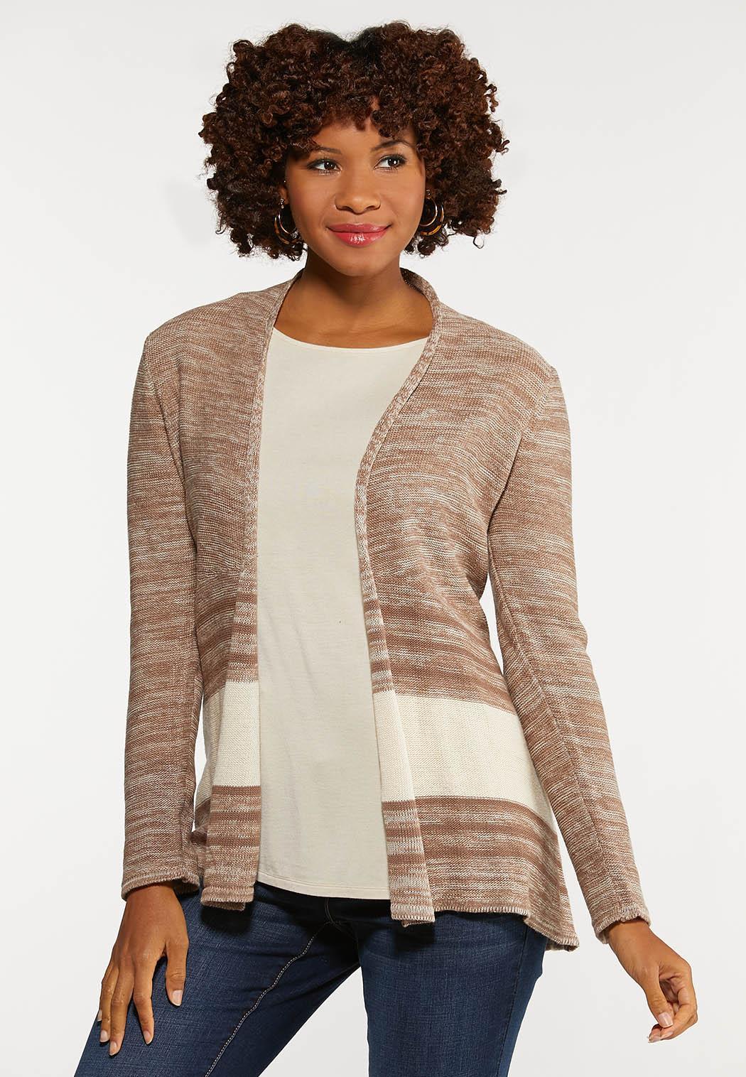 Plus Size Contrast Stripe Cardigan