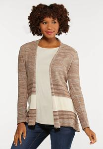 Plus Size Contrast Stripe Cardigan