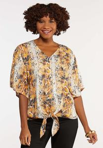 Plus Size Orange Snakeskin Print Top