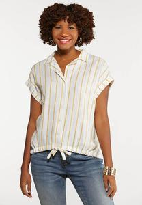 Plus Size Tie Front Linen Top