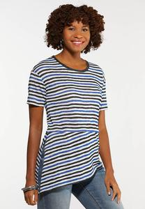 Plus Size Stripe Asymmetrical Top