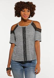 Stripe Crochet Cold Shoulder Top