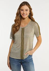 Plus Size Crochet Stripe Top