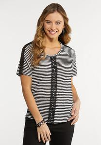 Plus Size Crochet Stripe Top