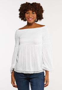 Plus Size Smocked Off The Shoulder Top