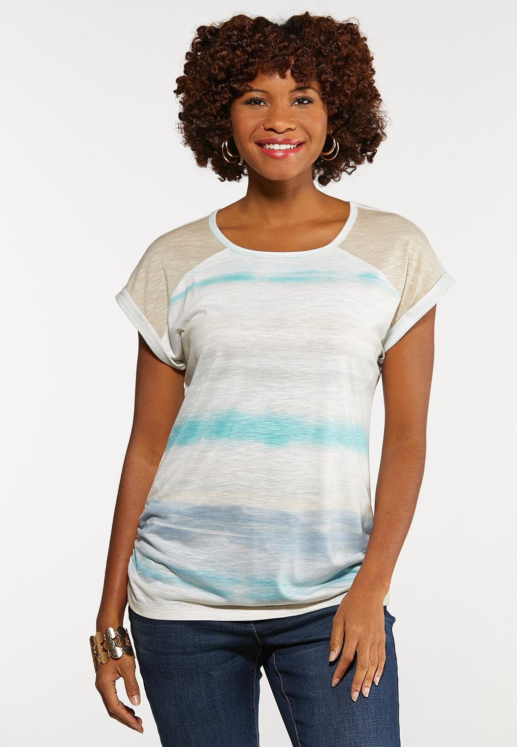 Muted Ruched Stripe Tee