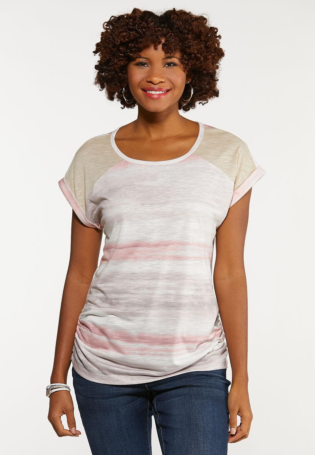 Plus Size Striped Ruched Side Tee