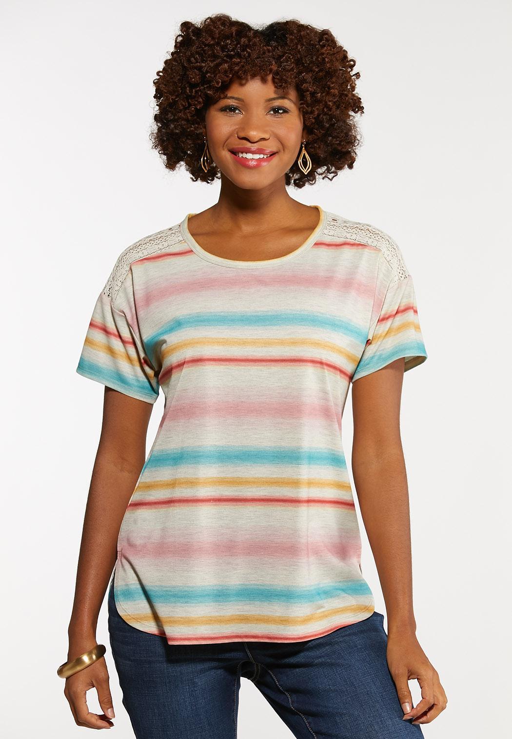 Plus Size Stripe Lace Shoulder Tee