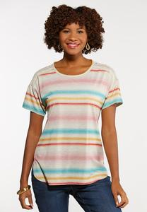 Plus Size Stripe Lace Shoulder Tee