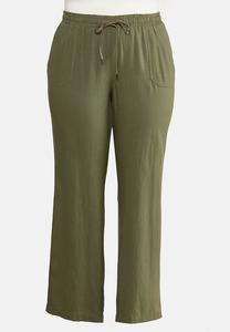 Plus Size Drawstring Linen Pants
