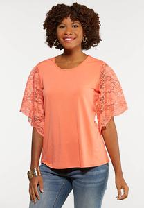 Plus Size Coral Lace Sleeve Top