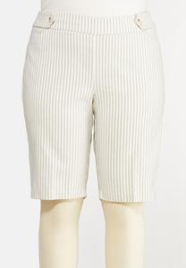 Plus Size Striped Bengaline Bermuda Shorts