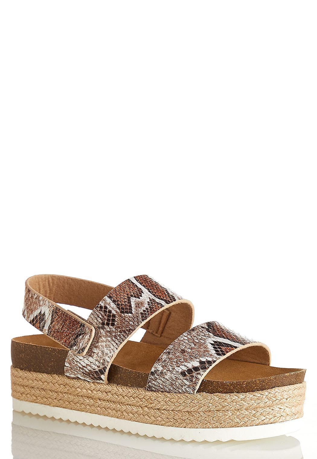 Snakeskin Roped Flatform Sandals