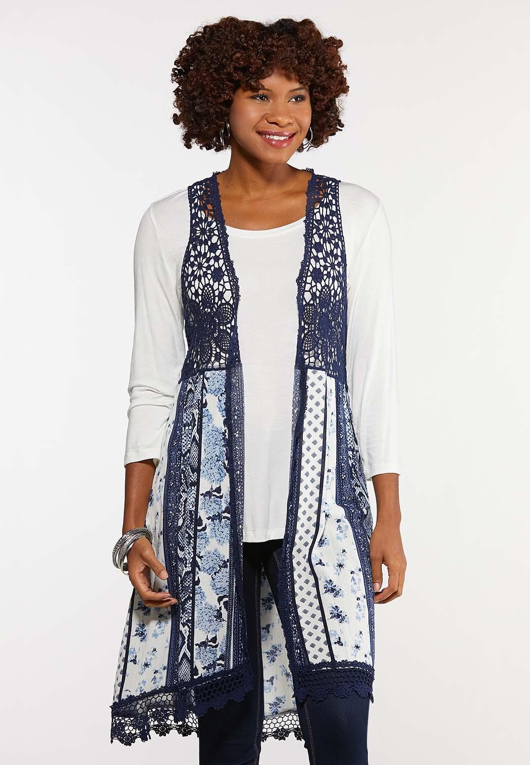 Plus Size Patchwork Crochet Trim Vest