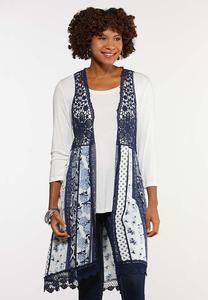 Plus Size Patchwork Crochet Trim Vest