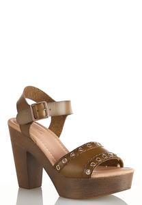 Grommet Strap Platform Sandals