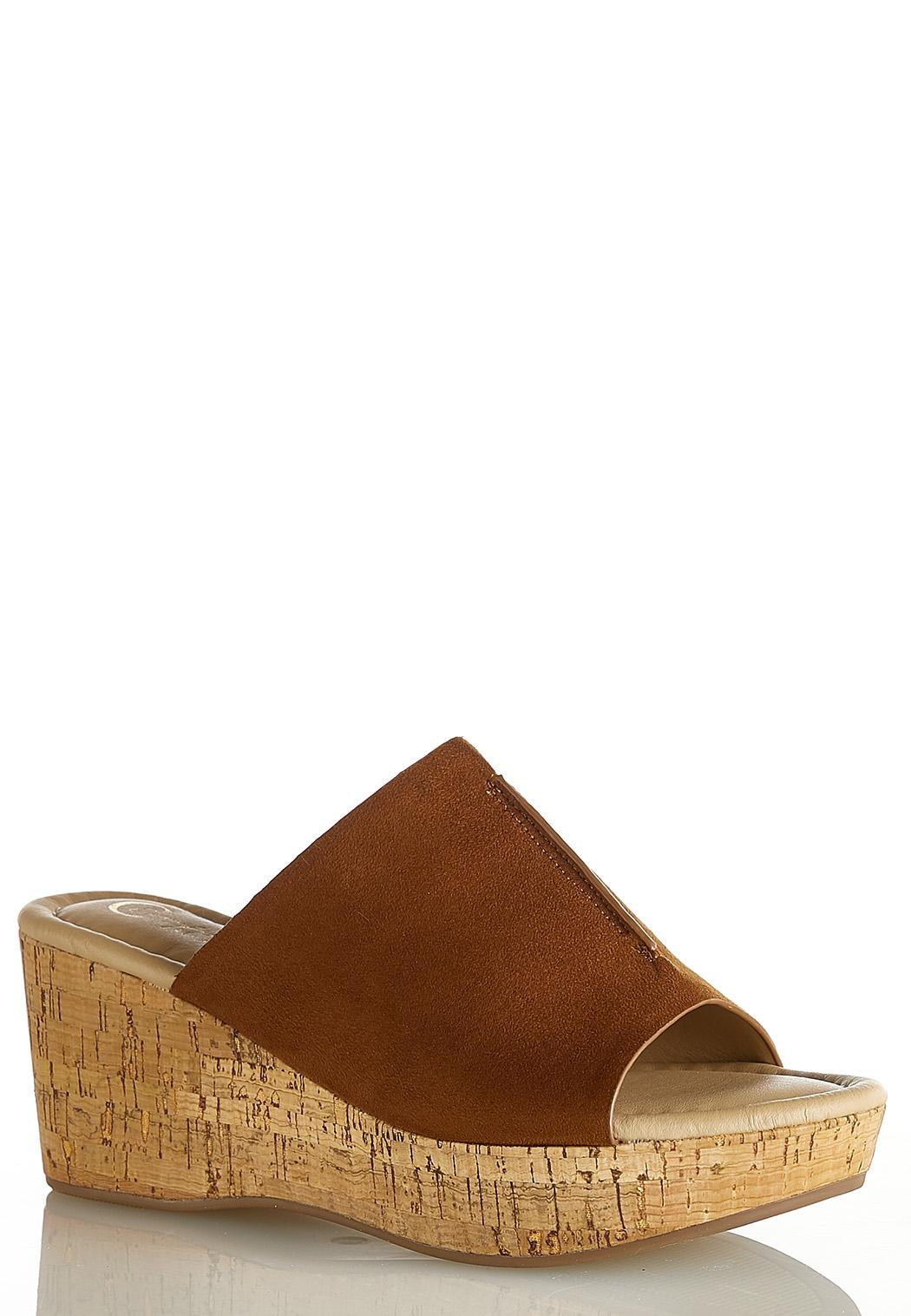 Cork Wedge Slide Sandals