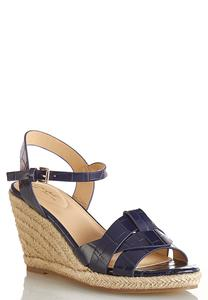 Wide Width Navy Croc Roped Wedges