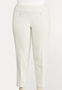 Plus Size Striped Bengaline Pants