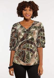 Plus Size Mixed Print Puff Top