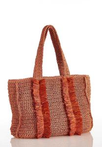 Fringed Straw Tote