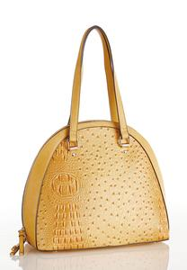 Golden Ostrich Dome Satchel