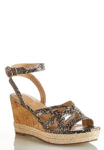 Snakeskin Cork Wedges
