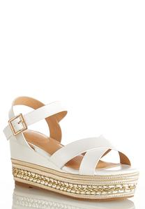 Crossband Platform Wedges