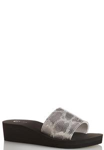 Metallic Snake Wedge Sandals