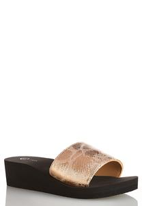 Metallic Snake Wedge Sandals