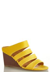 Faux Suede Golden Wedges