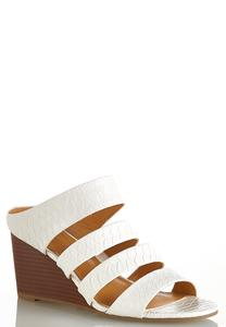 Wide Width Textured Band White Wedges