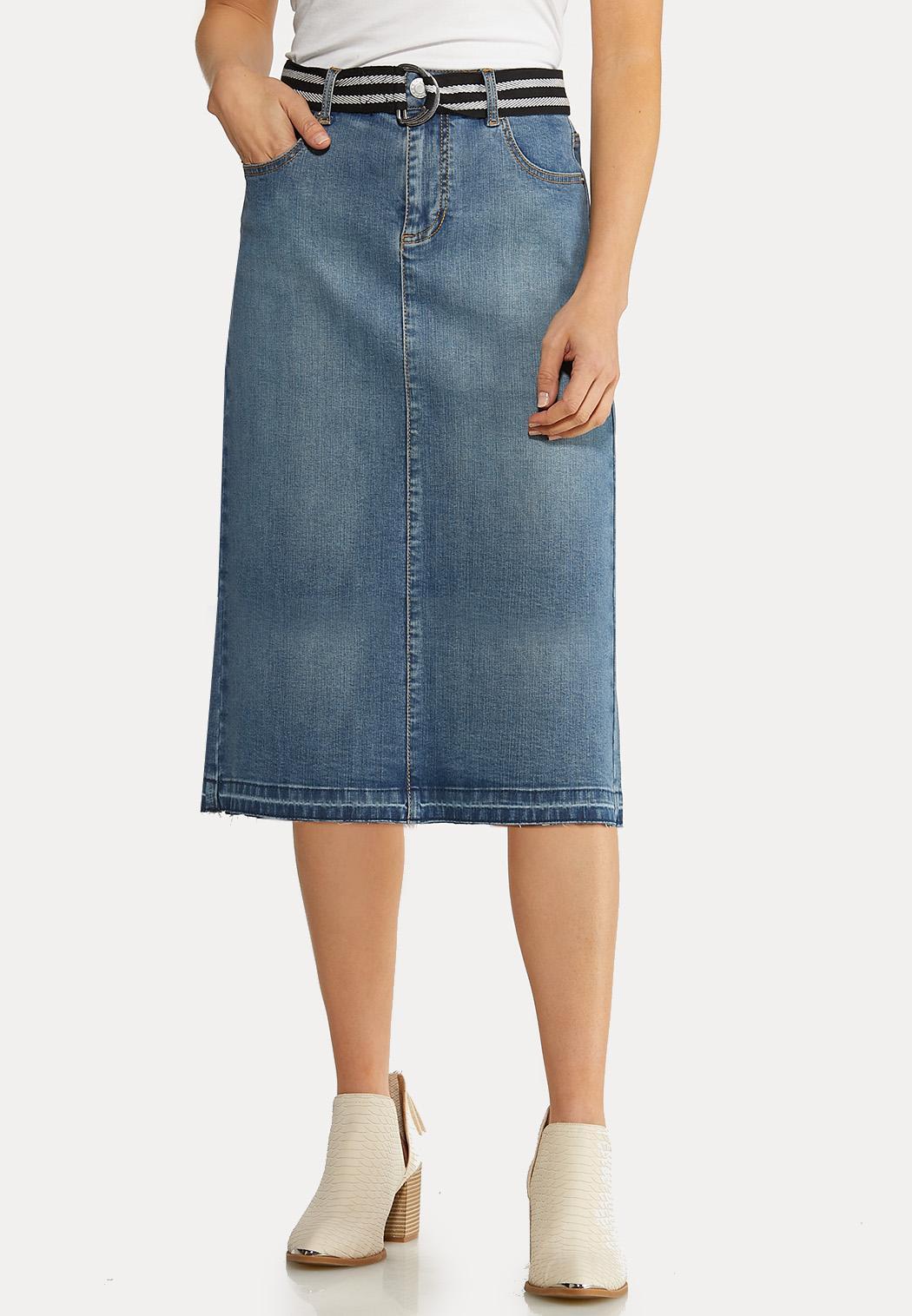 Plus Size Belted Denim Skirt