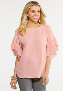Plus Size Lacy Sleeve Top