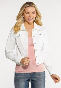 Plus Size White Denim Jacket