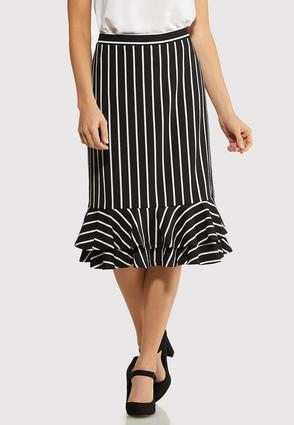 Stripe Tiered Ruffle Skirt