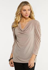 Plus Size Draped Puff Sleeve Top