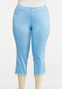 Plus Size Color Cropped Skinny Jeans