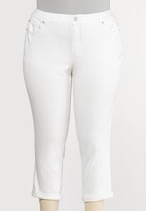Plus Size White Skinny Ankle Jeans