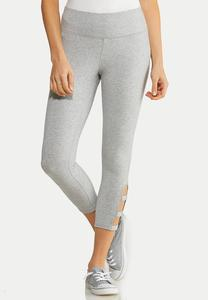 Lattice Hem Crop Leggings