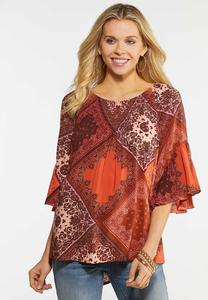 Plus Size Prairie Bell Sleeve Top